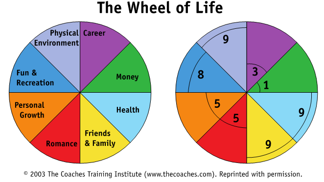 wheel of life diagram from The Coaches Training Institute